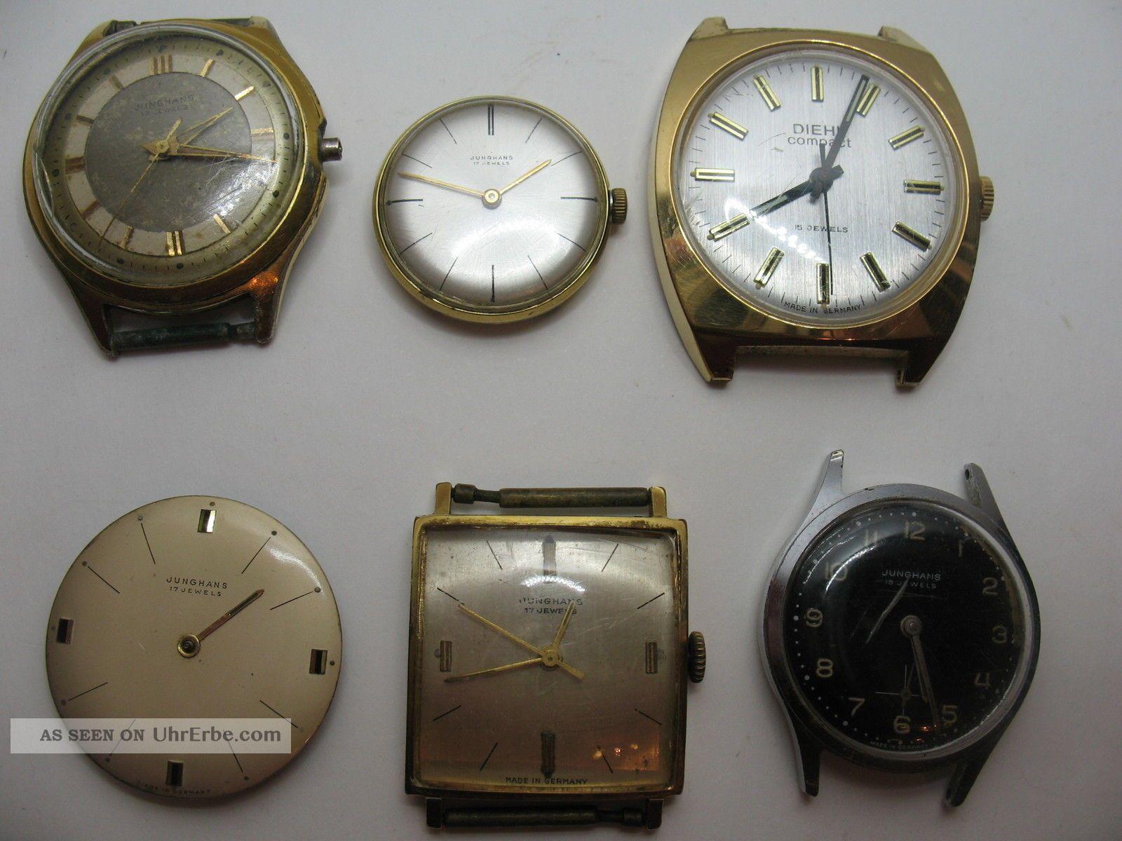 Konvolut Von 6 Alten Junghans Herrenuhren Mit Verschiedenen Kalibern Armbanduhren Bild