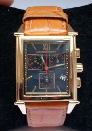 Newton & Sons Chronograph Lederarmbanduhr Ip - Vergoldet Bild