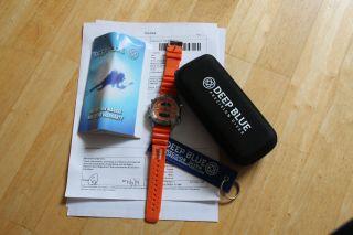 Deep Blue Depthmeter Diver Digital/analog Orange 200m Saphirglas Ovp Bild