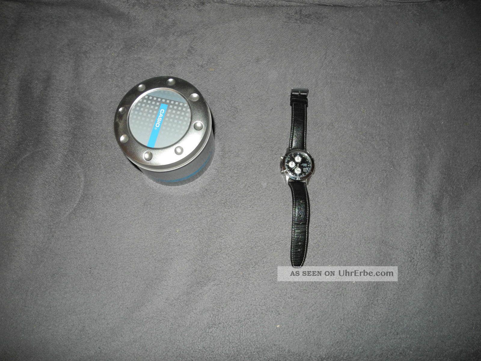 Casio Wave Ceptor Wvq - 560 Modul 4723 Lederarmband Funk Uhr Chronograph Armbanduhren Bild