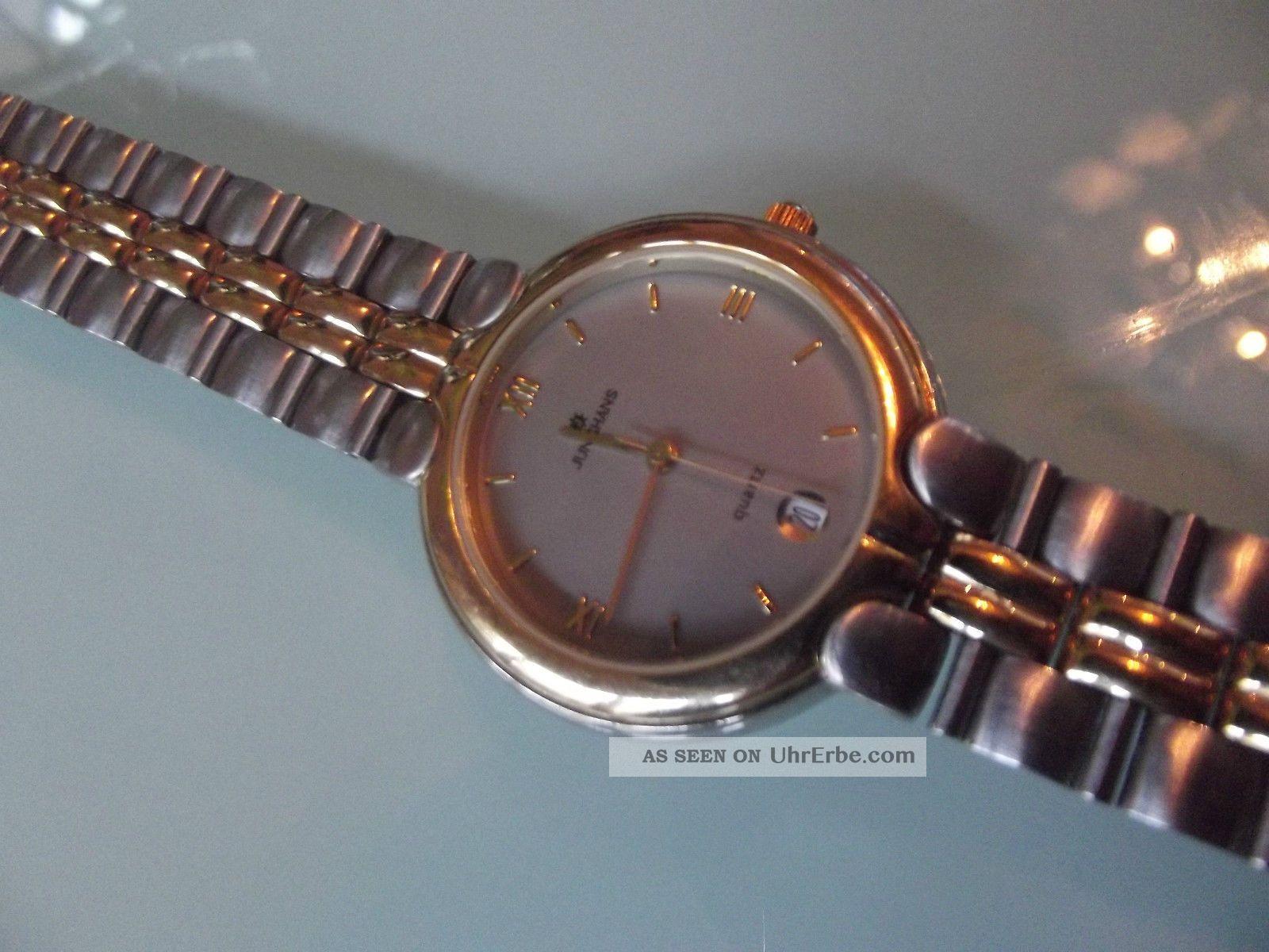 Unisex Junghans Stahl Gold Date Mod.  41/0041 Armbanduhren Bild