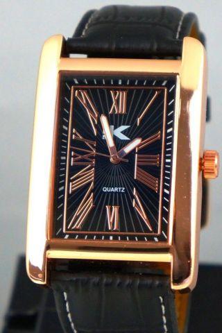 Xxl Herrenuhr Edel Elegant Rose Gold Schwarze Leder Look Armband Box1 Bild