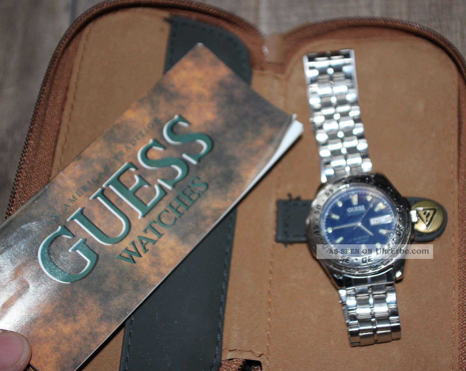 Herren Armbanduhr V.  Guess Edelstahl Mit Etui Silber Blau W10 Armbanduhren Bild