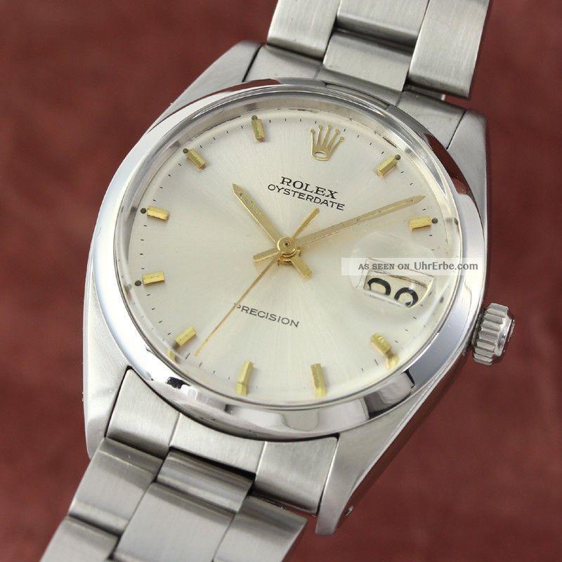 Rolex Oysterdate Precision Herrenuhr Edelstahl Handaufzug 6694 Vintage Vp:4300,  - Armbanduhren Bild