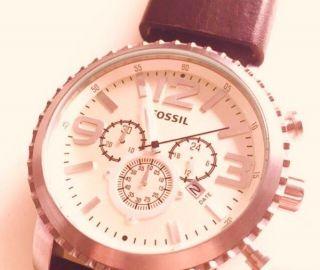 Fossil Uhr Herren Bq 1177 - Braun - Silber - Chronograph Mit 2 J. Bild