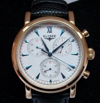 Elysee Chronograph Eta G10,  Herrenarmbanduhr,  Lederarmband Ref.  97009g Wie Bild