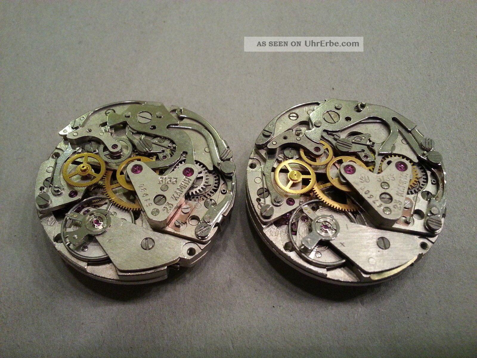 2x Poljot 3133 Kaliber Movements,  ähnlich Dem Valjoux 7734 Mit Handaufzug Armbanduhren Bild