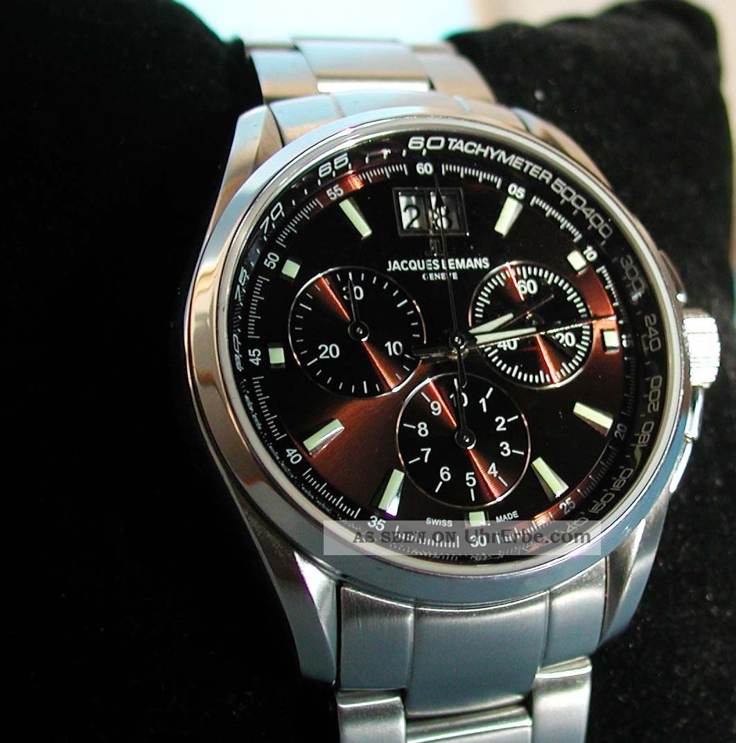 Jacques Lemans G126d - Geneve Chronograph,  Swiss Made,  Sapphire,  100m,  Ovp Armbanduhren Bild