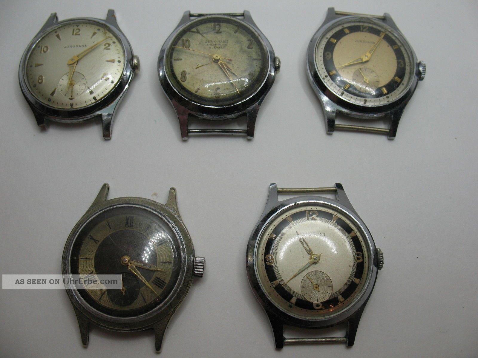 Konvolut Von 5 Junghans Herrenuhren Mit Dem Kaliber 93 Aus Den 50er Jahren Armbanduhren Bild