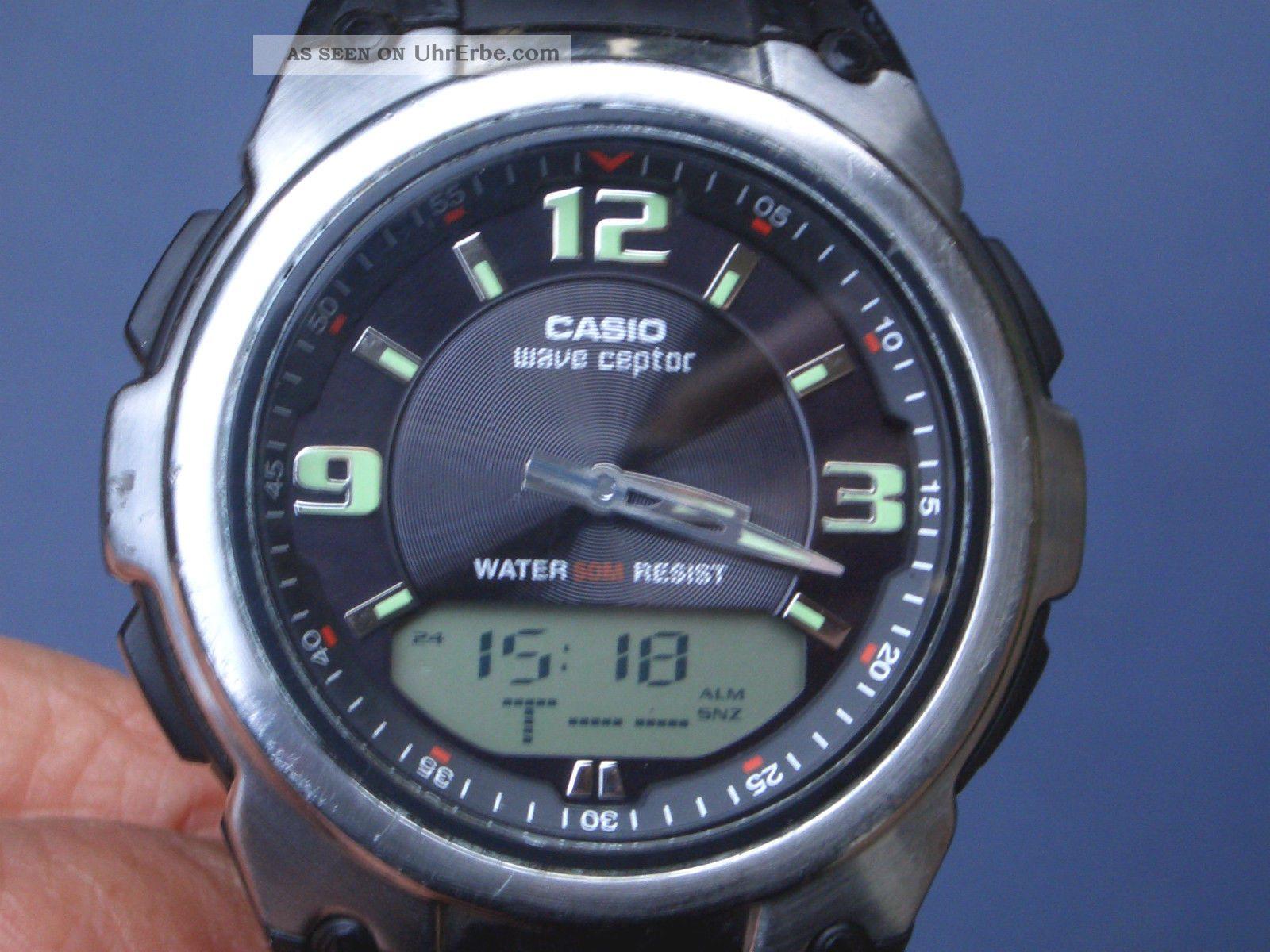 Seltene Casio Funkuhr Herren Armbanduhr Gut Erhalten Alle Funktionen Laufen Gut. Armbanduhren Bild