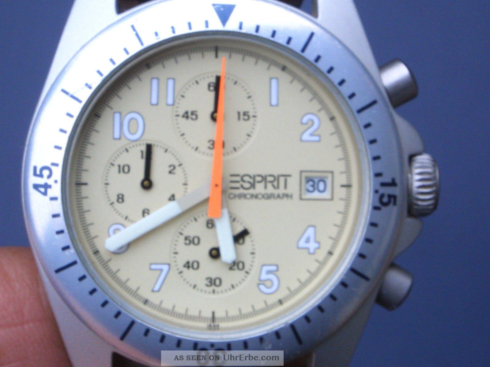 Seltener Esprit Aluminium Herren Chronograph Gut Erhalten Alle Funktionen Laufen Armbanduhren Bild