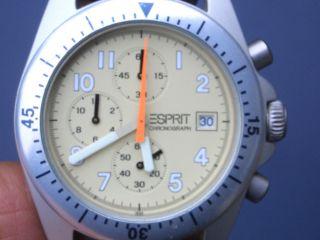 Seltener Esprit Aluminium Herren Chronograph Gut Erhalten Alle Funktionen Laufen Bild