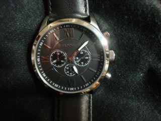 Fossil Uhr Herren Bq 1130 - Schwarz - Silber - Chronograph Mit 2 J. Bild