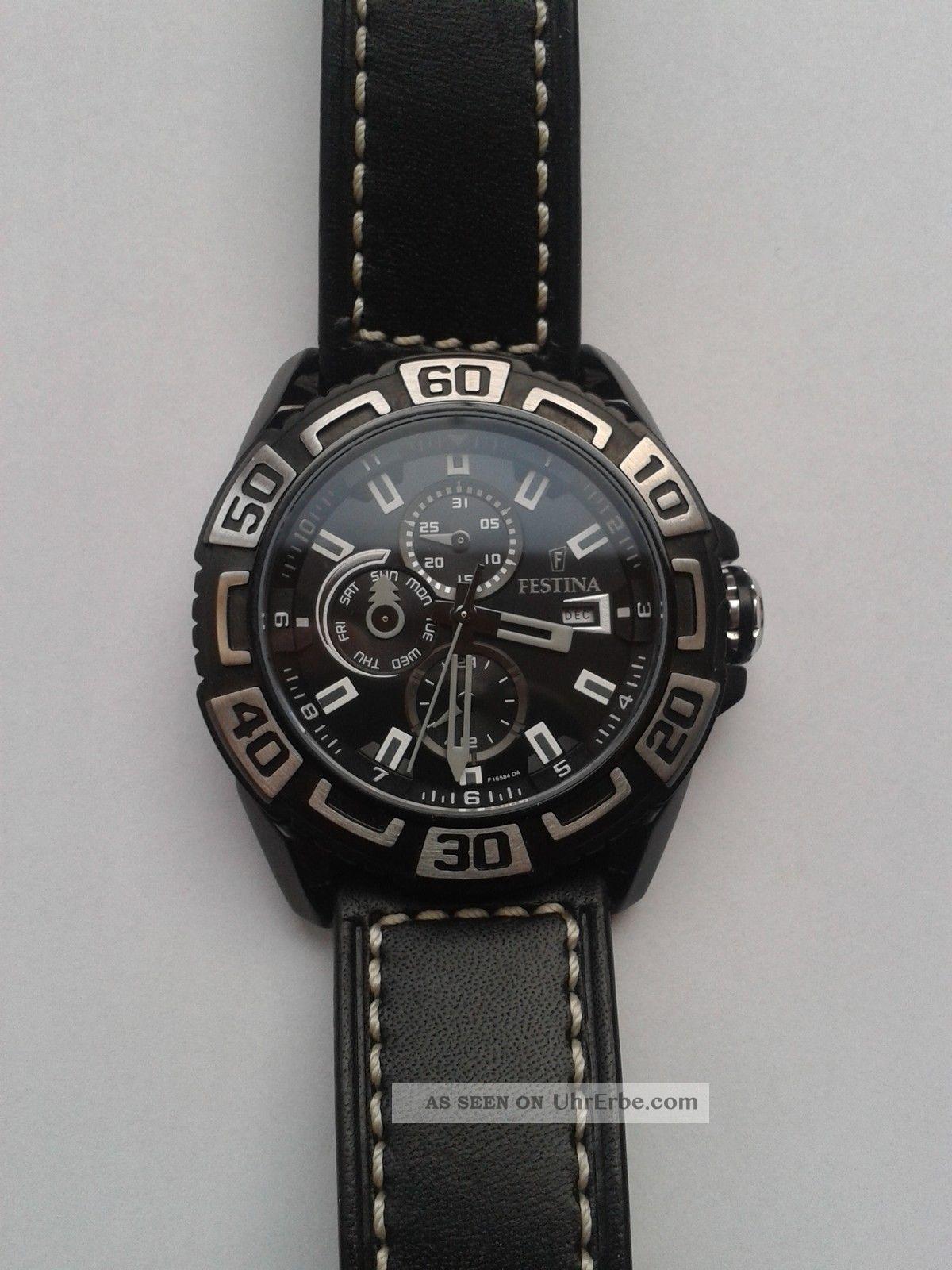 Festina Herrenchronograph Uhr Mit Schwarzem Lederarmband Armbanduhren Bild
