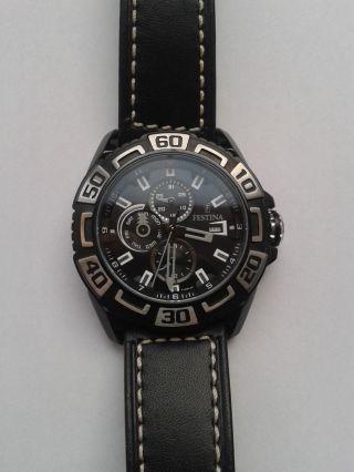 Festina Herrenchronograph Uhr Mit Schwarzem Lederarmband Bild