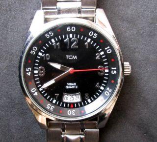 Tcm Herrenarmbanduhr Mit Datumsanzeige,  Uhr Läuft,  Batterie Ist Bild