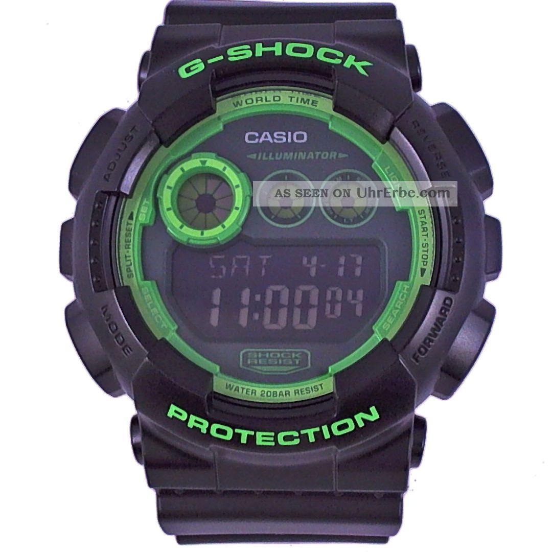 Casio G - Shock Gd - 120n - 1b3er Schwarz Grün Weltzeit Zeitzonen Alarm Led Light Armbanduhren Bild