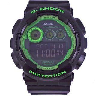 Casio G - Shock Gd - 120n - 1b3er Schwarz Grün Weltzeit Zeitzonen Alarm Led Light Bild