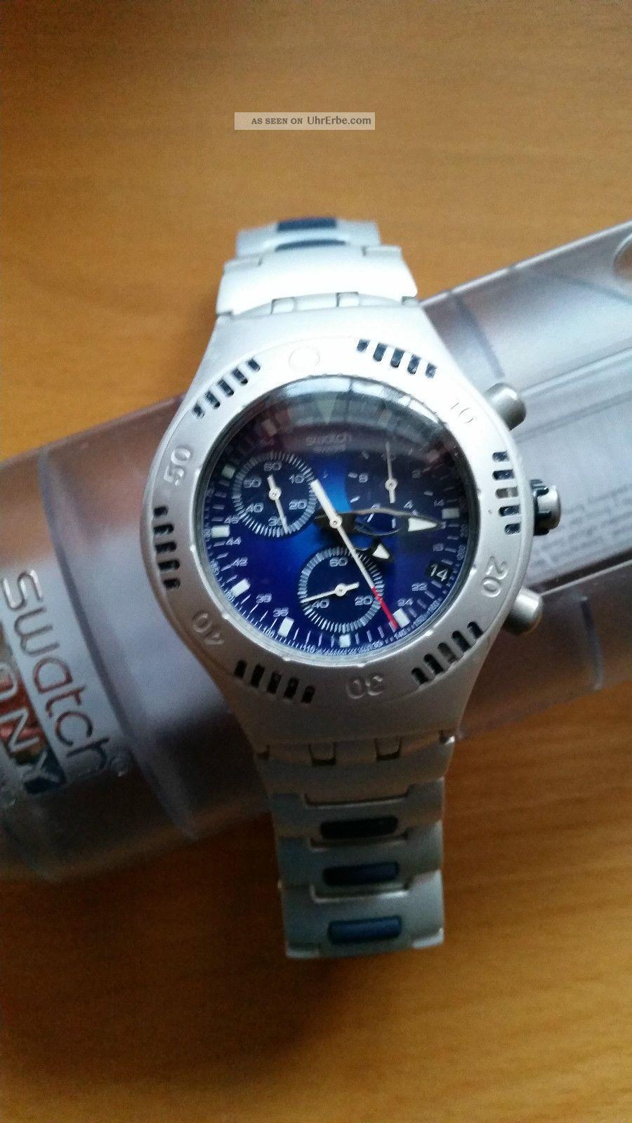 Herren Chronograph Swatch Irony Scuba 200 Chrono Mit Ovp Armbanduhren Bild