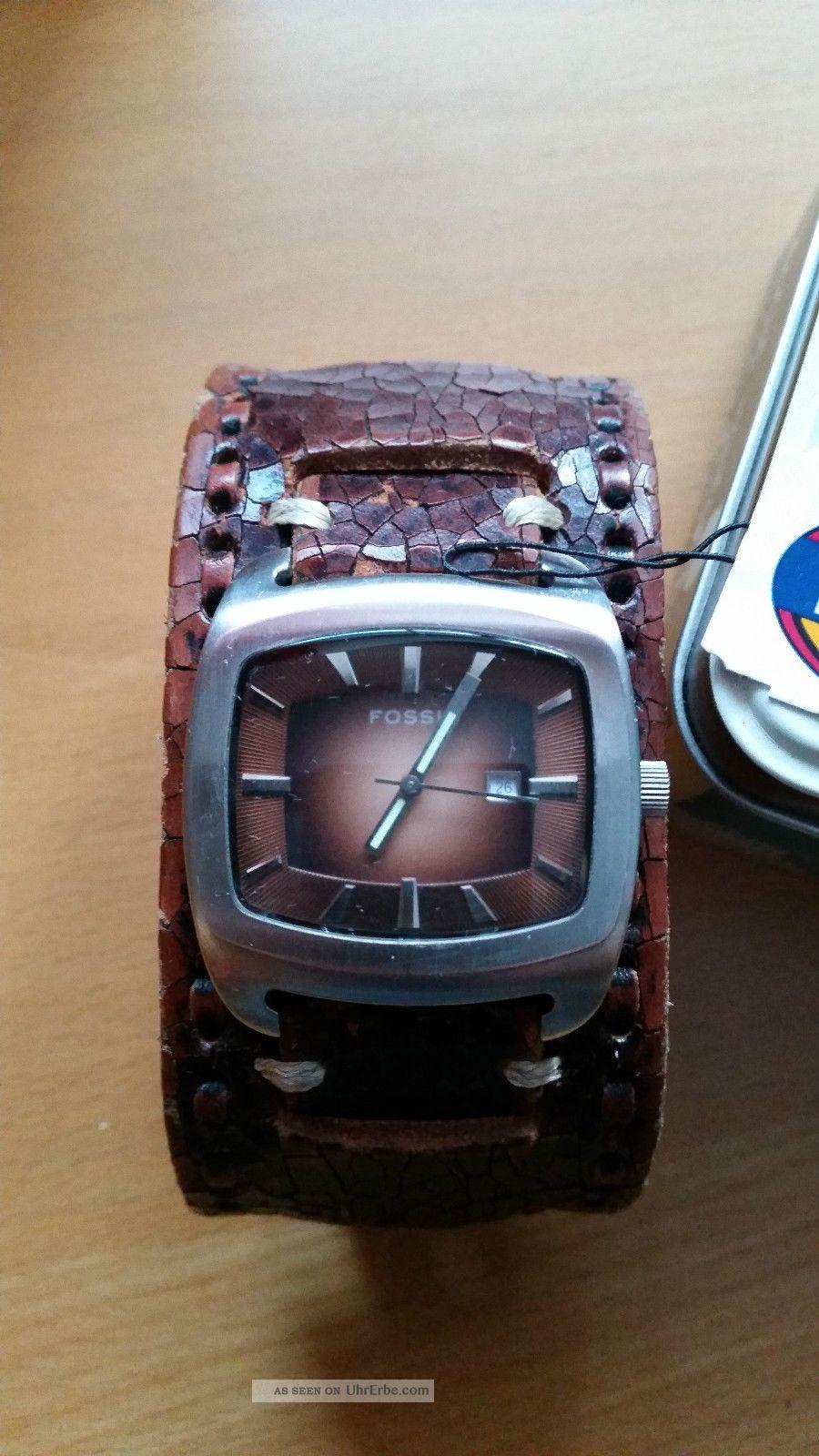 Fossil Herrenuhr Lederband Armbanduhr Jr 8985 Braun Top Mit Ovp Armbanduhren Bild