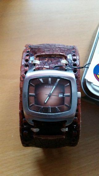 Fossil Herrenuhr Lederband Armbanduhr Jr 8985 Braun Top Mit Ovp Bild