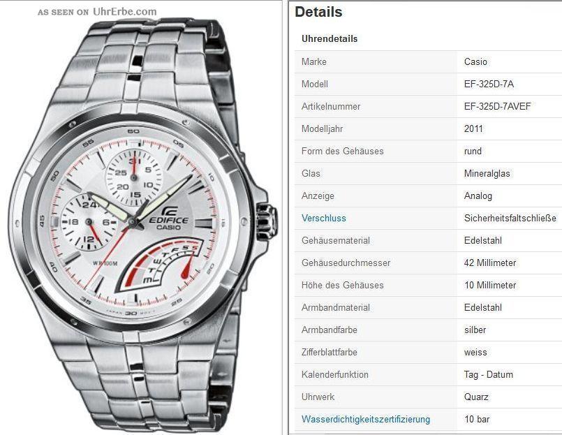 Casio Edifice Ef - 325d - 7avef Silber Armbanduhren Bild
