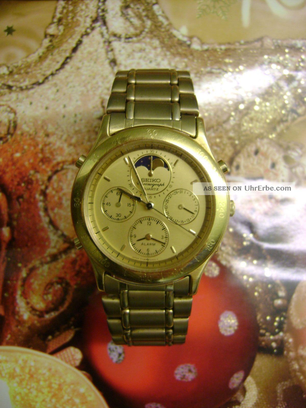 Seiko Chronograph Teilvergoldet Mit Mondphase Armbanduhren Bild