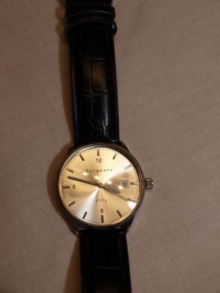 Bergmann 1976 Neuwertige Herren Armband Uhr Edelstahl Gehäuse Bild