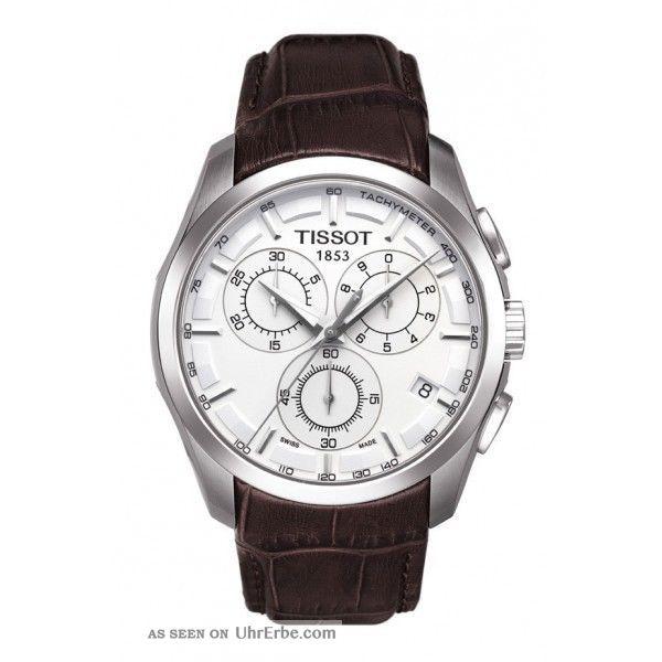 Herren Uhr Tissot T0356171603100 Chronograph Braun Leder Armbanduhren Bild