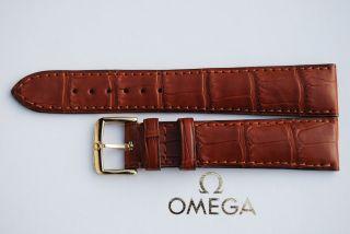 Omega Kroko - Lederband Krokodilprägung 19mm Armband/bracelet Leder Bild