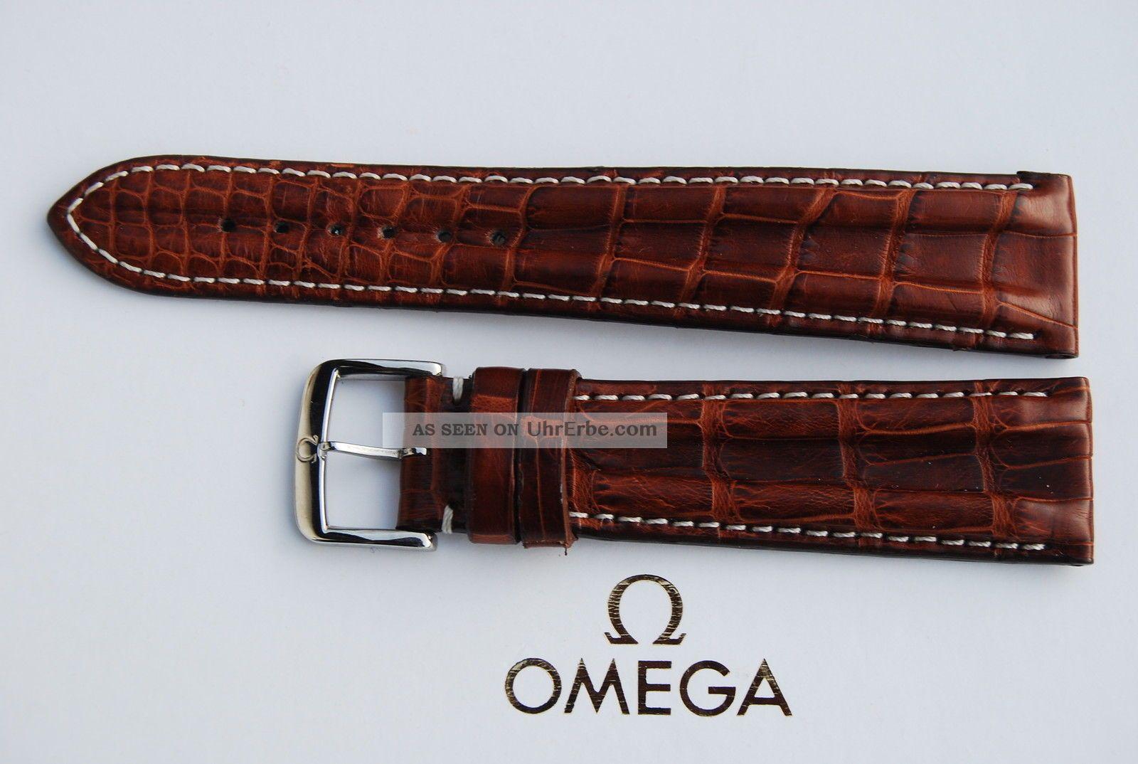 Omega Kroko - Lederband/braun Krokodil 20mm Armband/bracelet Leder 1 Armbanduhren Bild