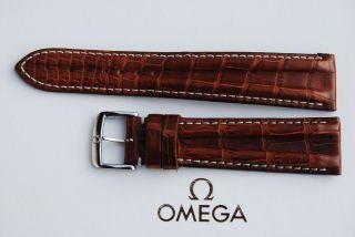 Omega Kroko - Lederband/braun Krokodil 20mm Armband/bracelet Leder 1 Bild