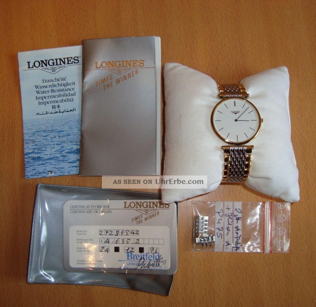 Longines La Grande Classique Uhr Armbanduhr Gold Silber Damen Herren Retro Armbanduhren Bild
