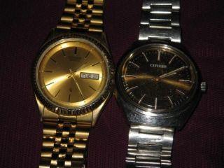 2 X Citizen Watch Co Herren Uhr Armbanduhr Gold / Silber Farben Bild