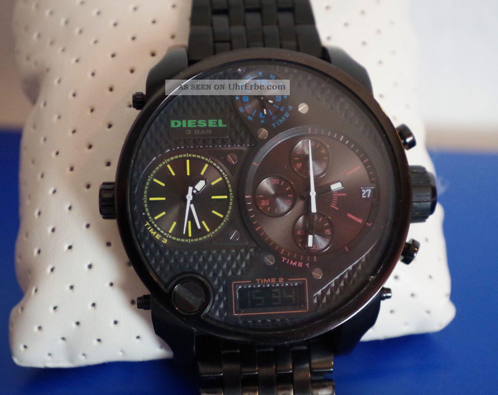 Diesel Big Daddy Watch Uhr Herrenuhr Schwarz Black Dz - 7266 Ovp,  Handbuch Armbanduhren Bild