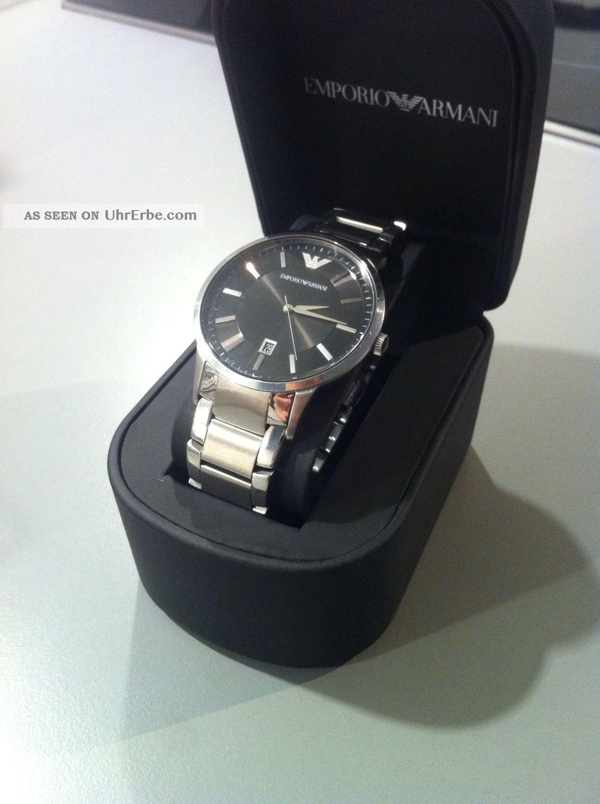 Emporio Armani Herrenuhr Ar 2427 Edelstahl Flaches Design Armbanduhren Bild
