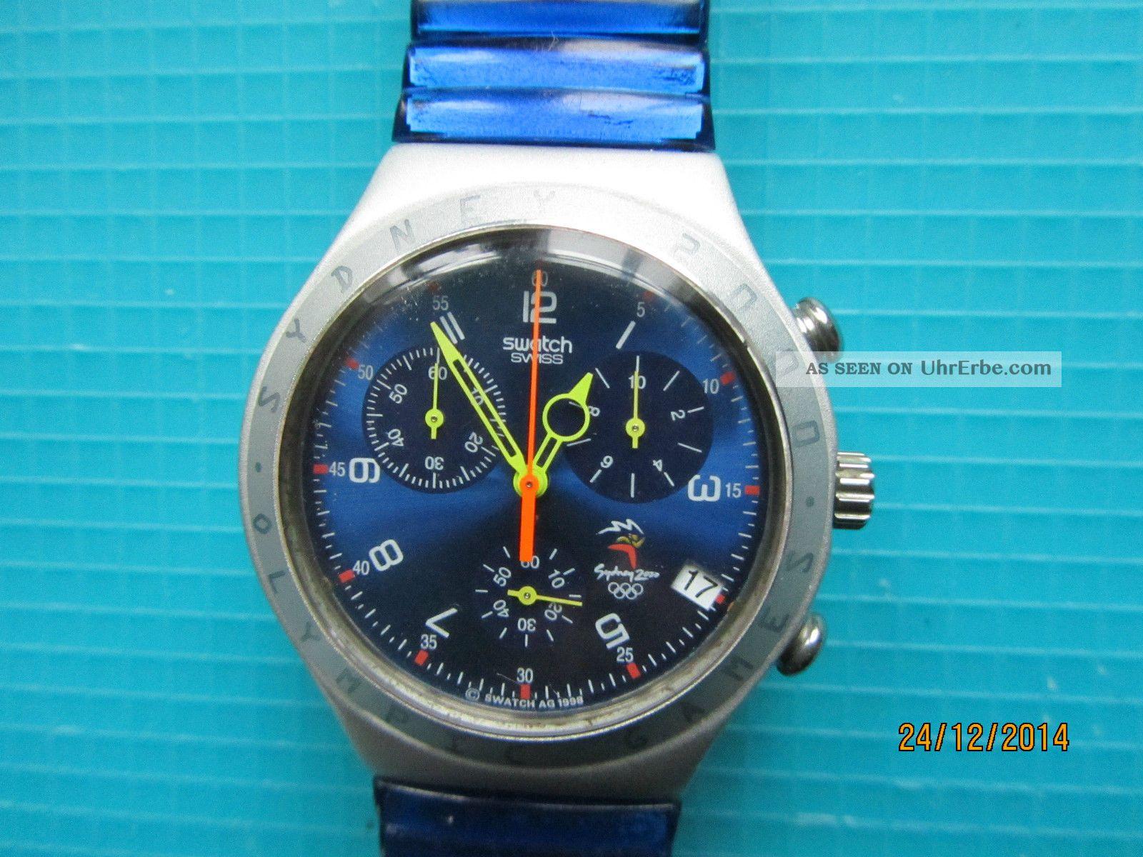 Swatch Chrono Rushcutters Olympic Spezial V 1999 Mit Blauen Stretcharmband Armbanduhren Bild