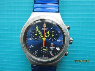 Swatch Chrono Rushcutters Olympic Spezial V 1999 Mit Blauen Stretcharmband Bild