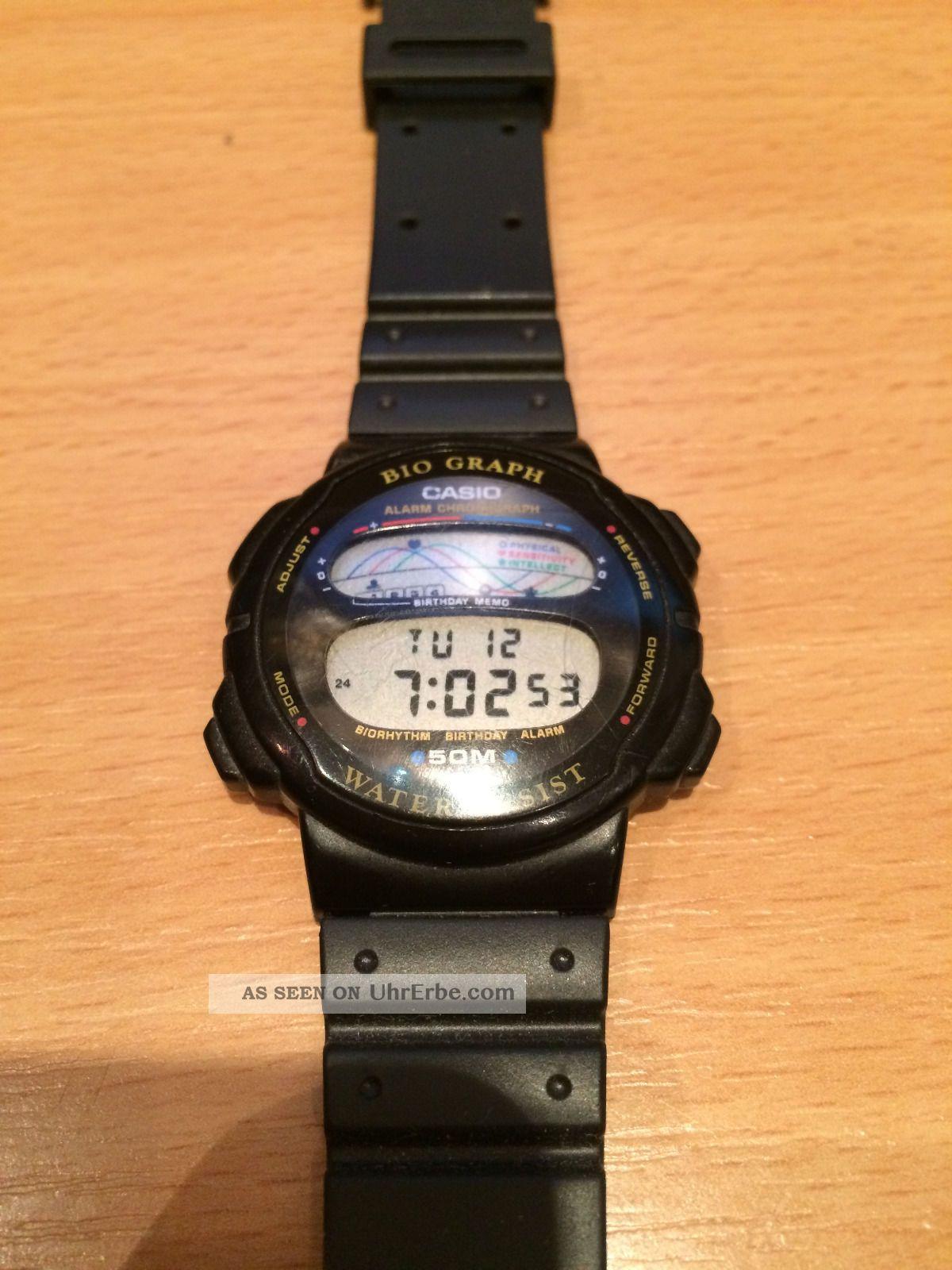 Alte Casio Armbanduhr Bio Graph Bh - 100w Sehr Selten Armbanduhren Bild
