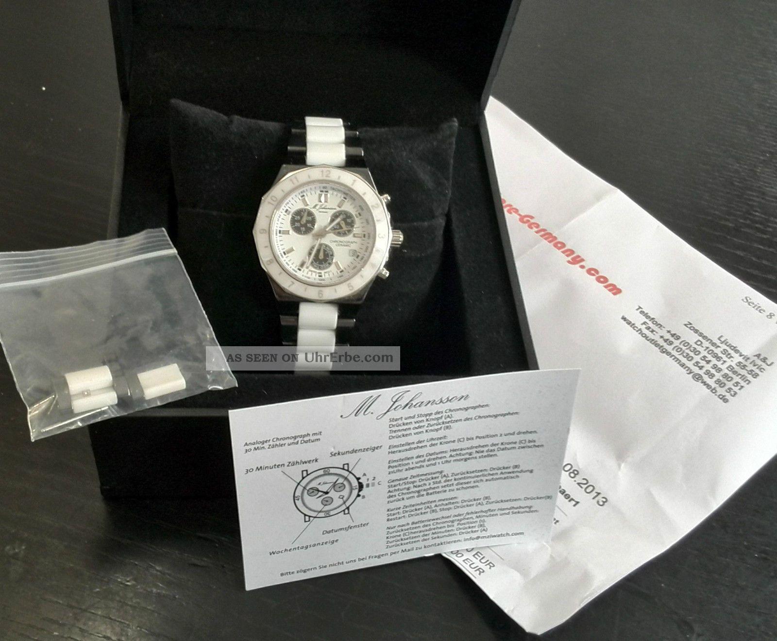 Keramik Herrenuhr Schwarz - Weiß - M.  Johansson Rechnung Armbanduhren Bild