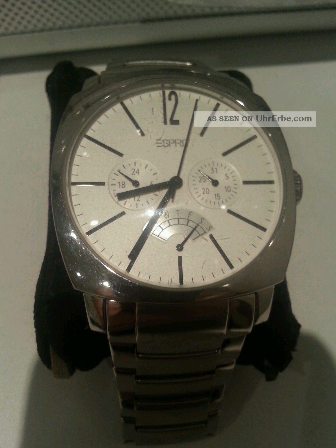 Esprit Herren Uhr Weiss Edelstahl Armbanduhren Bild