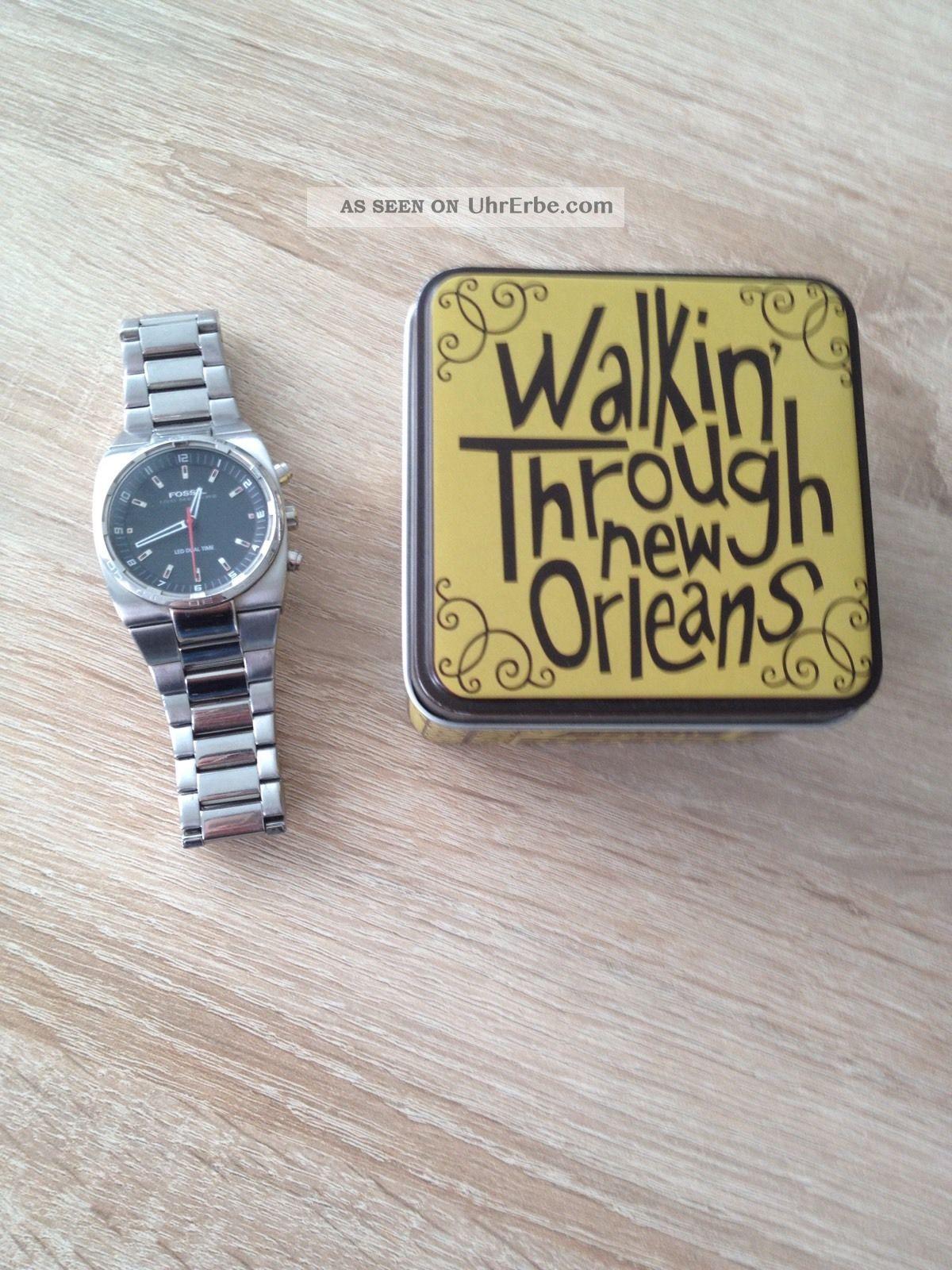 Fossil Herrenuhr / Led Dual Time / Seltene Uhr Armbanduhren Bild