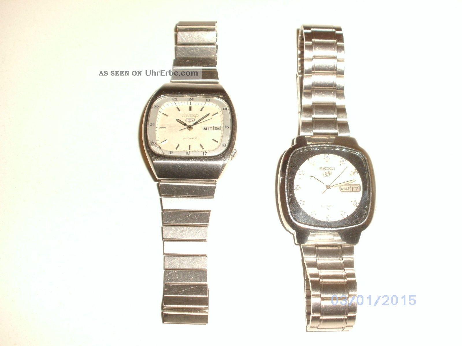 Zwei Seiko 5 Automatik Uhren Mit Metallarmband Armbanduhren Bild