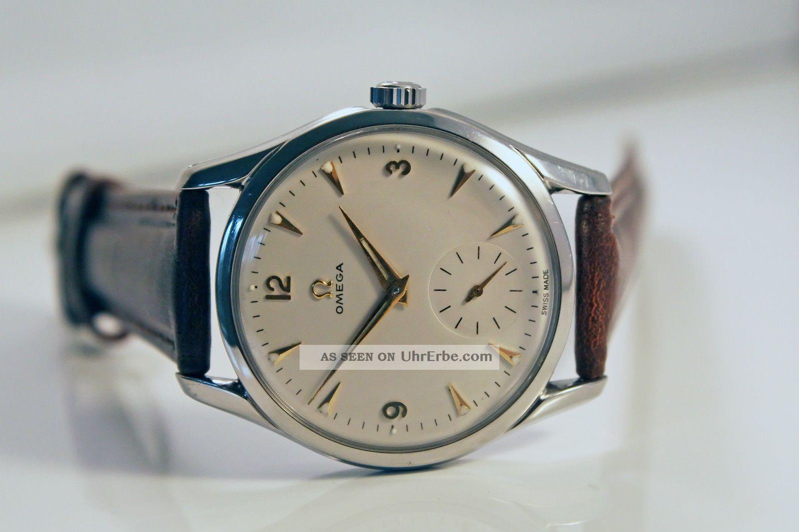 Omega Bumper White Dial Uhr/watch Herren/gents Cal.  266 Top/mint Armbanduhren Bild