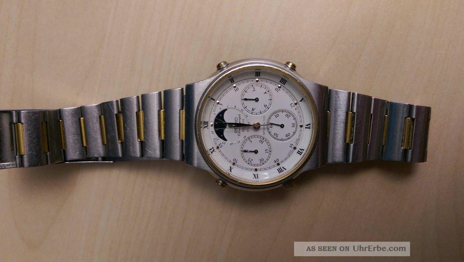 Seiko Chronograph Sports 100 7a48 - 7000 Mondphase / Moonphase Armbanduhren Bild