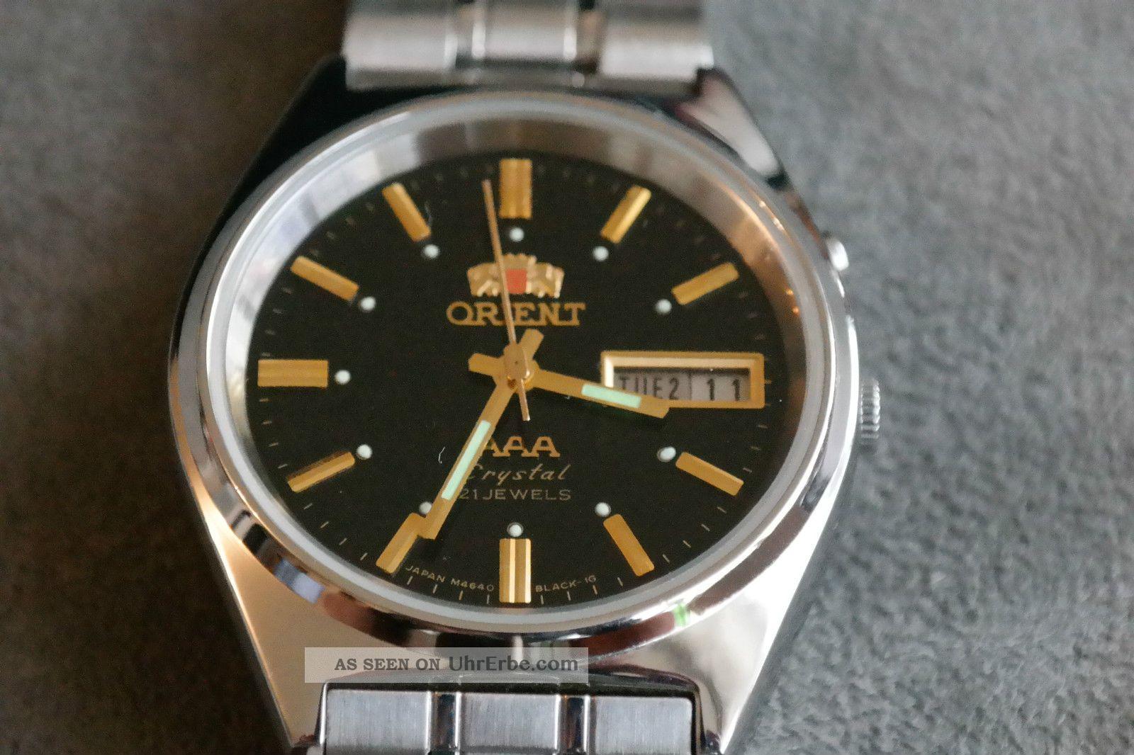 Orient Aaa Automatic Schwarzes Zifferblatt L469649 Edelstahlband Armbanduhren Bild