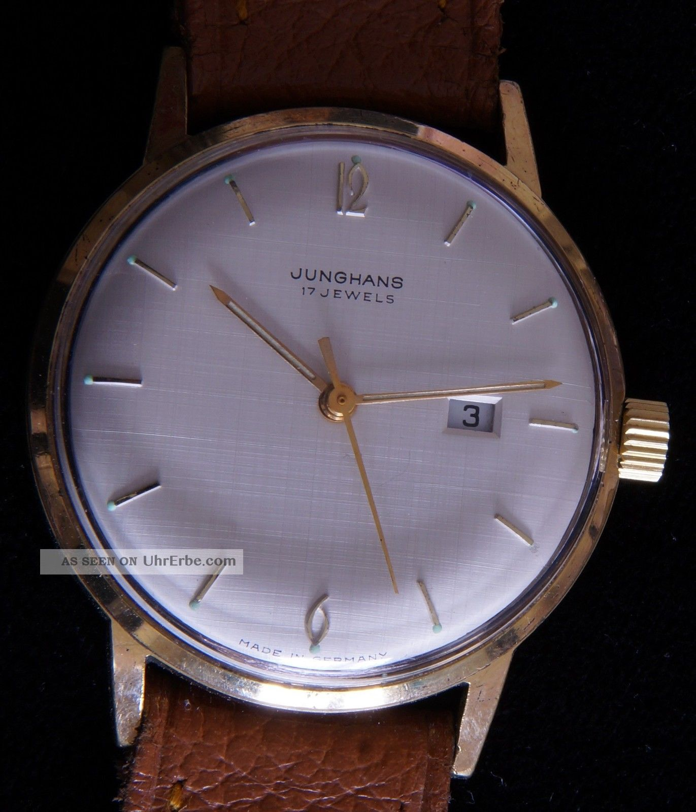 Junghans 17 Jewels Herren - Armbanduhr - 1960er Jahre,  34mm,  Datum Armbanduhren Bild