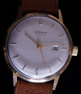 Junghans 17 Jewels Herren - Armbanduhr - 1960er Jahre,  34mm,  Datum Bild
