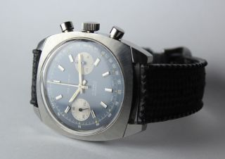 Rare Swiss Made Waltham Chronograph Valjoux 7733 17j Tropic Type Band Bild