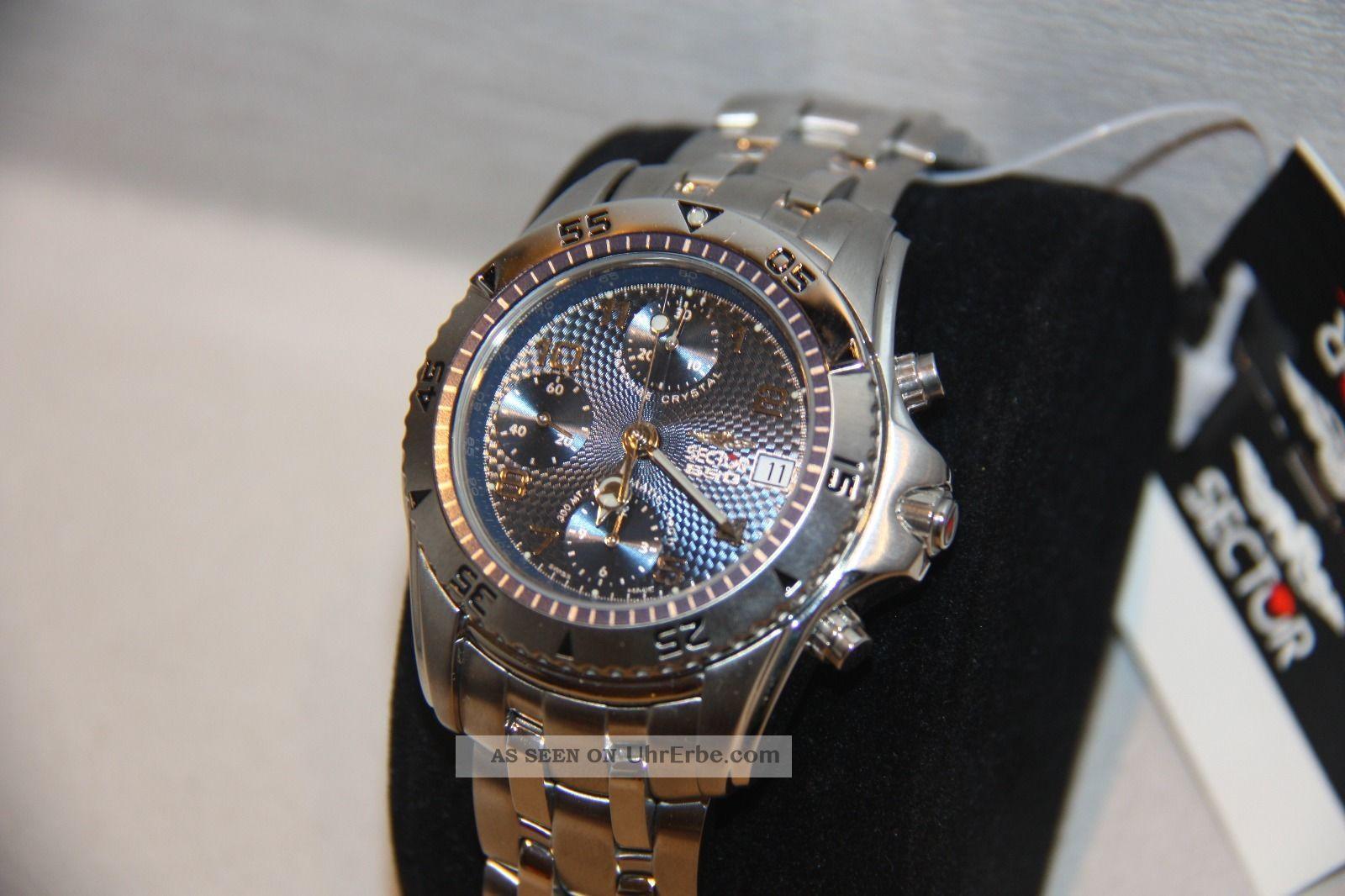 Sector 650 Automatic Chronograph Uhrwerk Valijoux 7750 Und Ungetragen Armbanduhren Bild